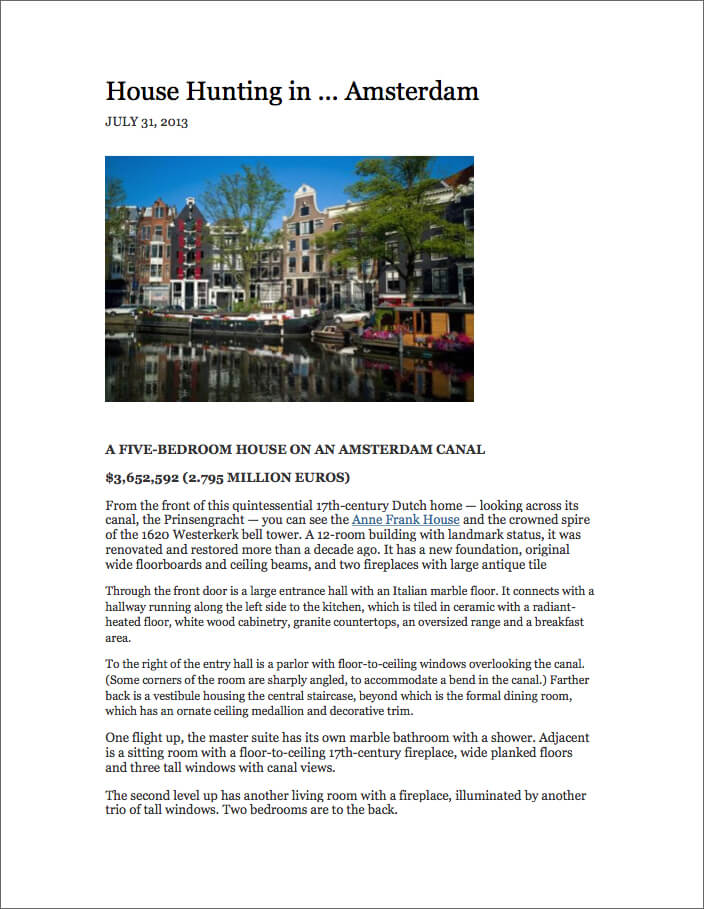 House hunting in Amsterdam,