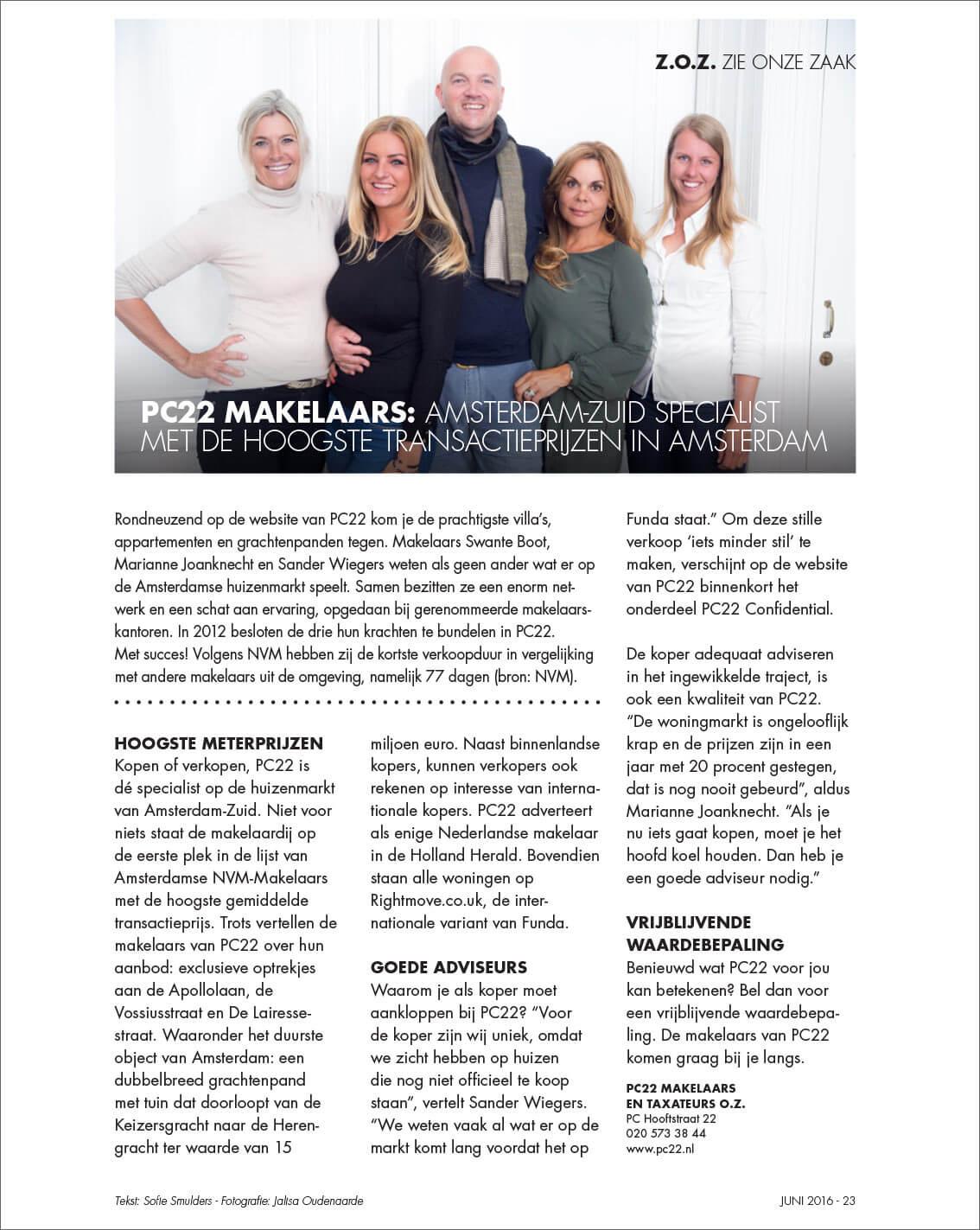 PC22 Makelaars: Amsterdam-Zuid specialist met de hoogste transactieprijzen in Amsterdam,